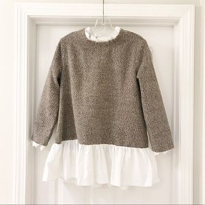 Sweaters - Brown sweater with skirt detailing